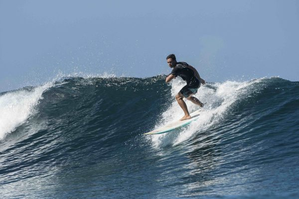 Namotu Island Resort, Nadi, Fiji (Sunday, February 18 2018): The wind was very light for most of the day and the swell was in the 3'-4 from the North West. Namotu lefts and Wilkes were the pick of the spots and the new guests made the most of an afternoon session at Lefts on the rising tide. other guests spent the afternoon fishing. Photo: joliphotos.com